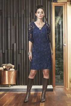 Montana dress - long sleeve lacey dress ideal for Weddings, special evenings and just when you want to look great! Coming soon Navy Lace, Lace Dress, Dress Long, Work Fashion, Hemline, Looks Great, Cold Shoulder Dress, Montana, Lady