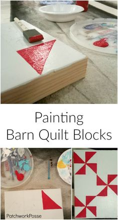 How to Paint Barn Quilt Blocks - so cute and great idea to do at quilt group #quilting #quiltgroup #painting #barnquilt #patchworkposse #sewingproject #quiltblocks