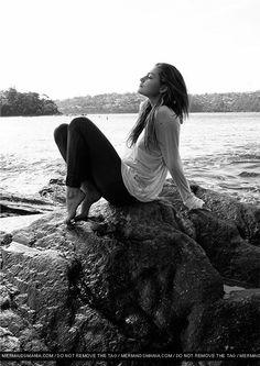 Phoebe Tonkin. Photo shoot at the ocean.