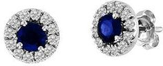 Vivid Elegance Woman's 0.93cttw Sapphire And Diamond Halo Earring Set In 14k Gold.