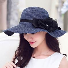 Ladies sun hat with flower for summer straw hats UV protection