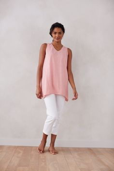 Pure Jill dipped-hem tunic with the Pure Jill slim crops