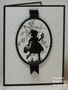 Stampin' Up! Stamping with Klass: Sweet Silhouette . black and white . matted oval with stamped silhouette of a little girl stamped over a pale gray stamped cherry blossom branch . Cricut Cards, Stampin Up Cards, Embossed Cards, Card Sketches, Creative Cards, Kids Cards, Flower Cards, Cute Cards, Greeting Cards Handmade