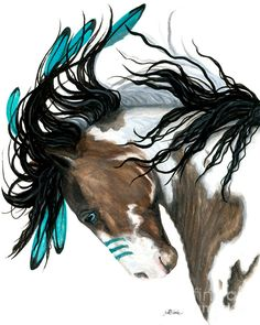 Majestic Pinto Turquoise War Paint Native American Spirit Horse ArT-Giclee Print by Bihrle - Majestic Pinto Turquoise War Paint Native American Spirit Horse ArT- Giclee Print by Bihrle Majestic Pinto Turquoise War Paint Native American par AmyLynBihrle Native American Horses, Native American Symbols, Native American Women, Native American History, Indian Horses, Horse Artwork, Horse Paintings, Horse Posters, Majestic Horse
