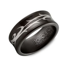 Cobalt Black Ceramic Celtic Design 9mm Comfort Fit Mens Wedding Band By Crown Ring