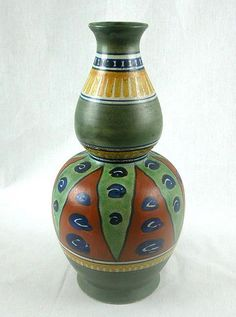 """ATTRACTIVE Signed """"archipel"""" GOUDA, 12"""" GOURD-SHAPED VASE, c. 1920-30"""