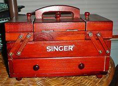 Vintage SINGER Wood Sewing Notions Box