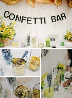 We originally saw this fun idea on Design Sponge in a post about using confetti and fell in love with the idea! Often at events, we struggle to find unique ways to celebrate, share excitement and keep guests entertained. With holiday parties wel Wedding Send Off, Wedding Reception, Our Wedding, Dream Wedding, Wedding Exits, Wedding Themes, Wedding Decorations, Confetti Bars, Confetti Ideas