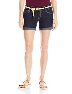 U.S. Polo Assn. Women's Juniors Mabel Belted Stretch Denim Short, True Rinse, 9