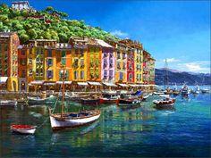 Buy Ceramic Tile Mural - Portofino 3 - by Sam Park/Soho Editions - Kitchen backsplash/Bathroom Shower Portofino Italy, Pintura Exterior, Park Art, Tile Murals, Beach Scenes, Fine Art Gallery, State Art, Scenery, Danish