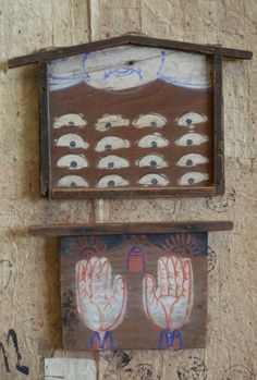 Two Rustic Ema:  An ema is a pictorial votive offering generally painted on a flat wooden surface  [the messenger of human wishes to the world of the gods].