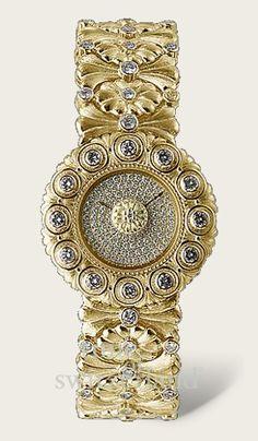 Buccellati gold and diamond watch Lila Gold, Gold Fashion, Fashion Jewellery, Fashion Women, Beautiful Watches, High Jewelry, Luxury Watches, Fashion Watches, Bracelet Watch