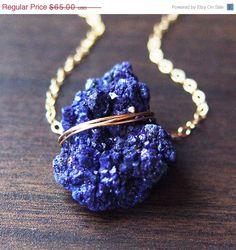 Azurite marocain vente collier en or, bleu marine