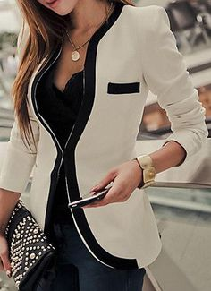 Slim Blazer with Piping Detail #fashion #style