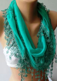 Nile Green  Cotton shawl /Elegance Shawl  Scarf with by womann, $16.90