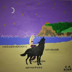 Magic (2014) - Acrylic on Canvas 20 x 20 x 1.5 A wolf being ridden by a mermaid in Coronado Beach with a quarter crescent moon and the view of Point Loma. Acrylic on Canvas 20 x 20 x 1.5 A wolf being ridden by a mermaid in Coronado Beach with a quarter crescent moon and the view of Point Loma All sales are final. No returns are accepted for this product.