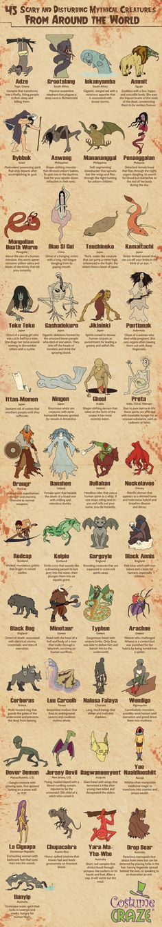Mythical Creatures from Around the Globe! Some fantasy spookiness for this Friday the 13th.