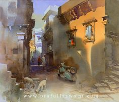 Kai Fine Art is an art website, shows painting and illustration works all over the world. Watercolor Landscape Paintings, Watercolor And Ink, Urban Sketching, Beautiful Landscapes, Art Pieces, Fine Art, Water Colors, Drawings, Sidewalks