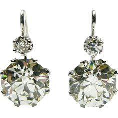 Platinum Old European Diamond Earrings on a French Wire