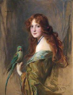 Phyllis (Lady with a Parrot) by Philip Alexius de László