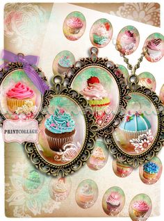 Cabochon oval images Clip Art for pendants Instant by PrintCollage Cupcake Images, Craft Images, Bottle Cap Images, Arts And Crafts Projects, Digital Collage, Jewelry Supplies, Scrapbook Pages, Gift Tags, Decoupage