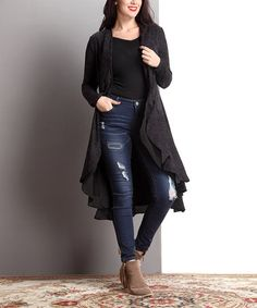Look what I found on #zulily! Black Damask Drape Open Cardigan - Plus #zulilyfinds