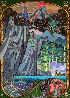 El Señor de los Anillos - Dos Torres - J.R.R. Tolkien.  Paso de la compañía por 'Gate of Argonath' by Breathing2004《'Pilares de los Reyes'. Situados en los márgenes del Anduin, al norte de Nen Hithoel. Representan a los hermanos Isildur y Anárion, hijos de Elendil, los primeros reyes humanos del Oeste.》Muerte de Boromir. Secuestro de Merry y Pippin por los orcos de Saruman. Partida de Frodo y Sam hacia el Monte del Destino.