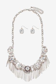 Rhinestone Bar Drop Necklace
