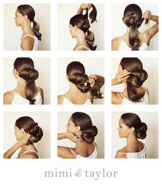 1. tie hair into a low bun 2. create this petal bun by adding pieces of hair extension and pinning ends upward 3. loop the hair down and use large pins to secure the ends 4. because the model's hair is thin and short we added 2 pieces of hair extensions 5. make sure to over lap the hair so it looks clean & modern