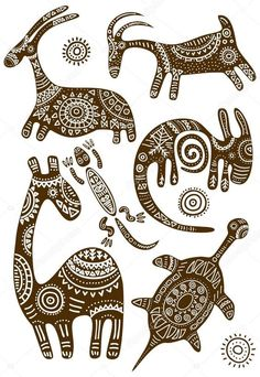 Arte vectorial : Set of vector African traditional patterns with animalsYou can find African art and more on our website. Kunst Der Aborigines, Afrique Art, African Paintings, Art Paintings, Indian Folk Art, Gourd Art, Art Graphique, African Animals, African Design