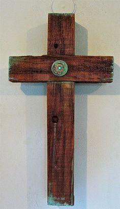 Rustic Wood Cross w/ Green Emblem Center