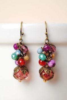 Mard016E unique handcrafted designer lapis jade pearl czech glass antique brass leaf dangle cluster earrings for women