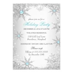 Teal Winter Wonderland Christmas Holiday Party 4a Card