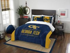 Georgia Tech Yellow Jackets Modern Take Full Comforter Set.  Includes Full-Queen Comforter and 2 Shams. Visit SportsFansPlus.com for Details.