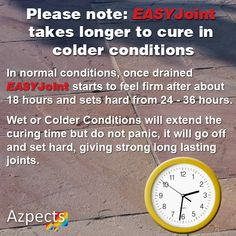 Please note: EASYJoint takes longer to cure in colder conditions Landscaping Tips, Long A, The Cure, Conditioner, Note