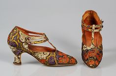 Silk and Metallic Evening Shoes, circa 1924. American.