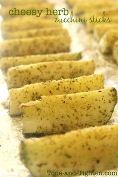 Cheesy Herb Zucchini Sticks on Tone-and-Tighten.com