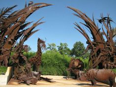 The Animals Always steel sculpture at the Saint Louis Zoo is 130 feet long, 36 feet high, and weighs 100 tons.