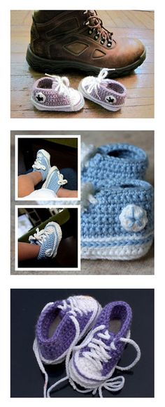Crochet Baby Shoes Baby Converse Shoes, free crochet pattern by Suzanne Resaul, via Ravelry - Crochet Converse, Crochet Baby Shoes, Crochet Baby Clothes, Crochet Slippers, Knit Or Crochet, Crochet For Kids, Crochet Crafts, Free Crochet, Ravelry Crochet