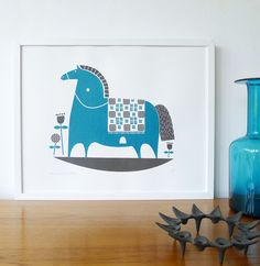 Rocking horse screenprint in teal and charcoal von roddyandginger, $55.00