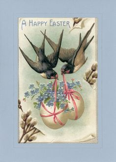 "A Happy Easter featuring two birds carrying eggs. Card fits 5"" x 7"" frame"