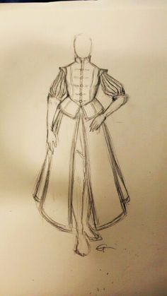 Sketch for an Inquisition uniform, I want to draw it well and then sew it.