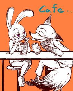 #zootopia #nick #judy #fox #bunny #cafe #fanart
