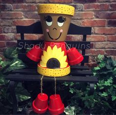 12 Scarecrow GIRL ONLY Flower Pot People /flower pot/ indoor decor/ outdoor decor/ garden statue/ birthday gift/ fall decor/ clay pots Flower Pot Art, Clay Flower Pots, Flower Pot Crafts, Painted Clay Pots, Painted Flower Pots, Hand Painted, Flower Pot People, Clay Pot People, Clay Pot Projects