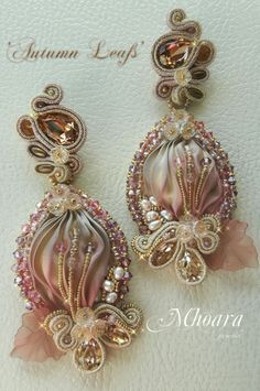 ' Autumn Leafs ' shibori silk and soutache by Mhoara