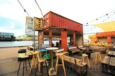 Abandoned island reborn as a shipping container street food mecca in Copenhagen - Container Cafe / Mobile Eatery - Container Restaurant, Container Cafe, Container Design, Container Houses, Food Truck, Shipping Container Homes, Shipping Containers, Shipping Boxes, Eco Architecture