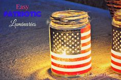 Easy patriotic luminaries made from repurposed pickle jars, inexpensive small flags removed from their wooden sticks, roll on adhesive tape and Mod Podge. Just add tea lights to complete the luminaries. Patriotic Crafts, July Crafts, Holiday Crafts, Holiday Fun, Holiday Decor, Holiday Ideas, Americana Crafts, Patriotic Wreath, Patriotic Images