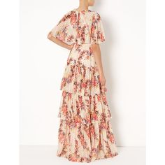 Needle & Thread Petal Pink Prairie Rose Gown (5.810 ARS) ❤ liked on Polyvore featuring dresses, gowns, pink floral dress, pink dress, vintage ball gowns, floral gown and pink gown