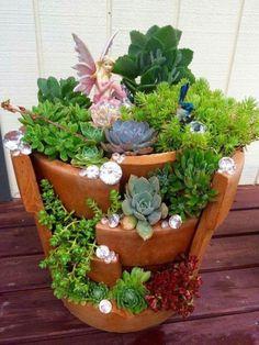 5 Fabulous Small Backyard Garden Landscape Design - One Backyard Garden Landscape, Small Backyard Gardens, Garden Landscape Design, Garden Landscaping, Garden Spaces, Broken Pot Garden, Fairy Garden Pots, Fairy Garden Houses, Succulent Gardening