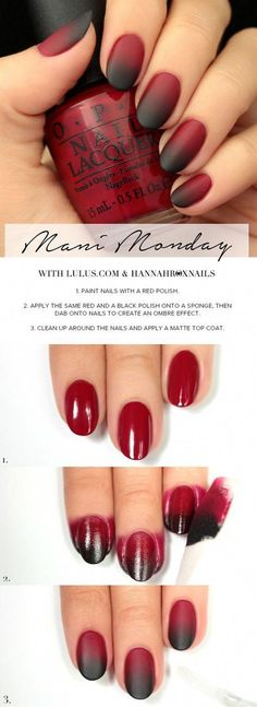 Best Tutorials for Ombre Nails – Black and Red Ombre Manicure How To – We've F… - Nageldesign Glitter French Manicure, French Pedicure, French Manicure Designs, Black Nail Designs, French Nails, Nails Design, Black Manicure, Red Ombre Nails, Blue Nails